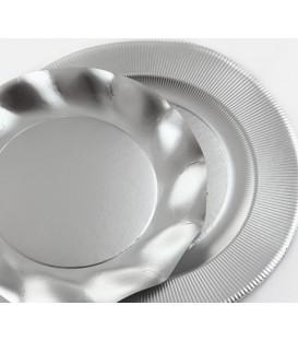 Piatti Piani di Carta a Petalo Argento Metallizzato Satinato 24 cm
