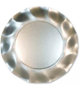 Piatti Piani di Carta a Petalo Argento Metallizzato Satinato 27 cm