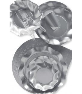 Piatti Piani di Carta a Petalo Argento Metallizzato Satinato 32,4 cm
