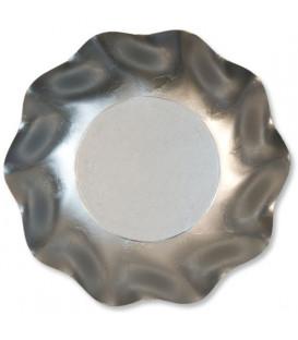 Piatti Fondi di Carta a Petalo Argento Metallizzato Satinato 24 cm