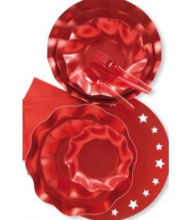Piatti Piani di Carta a Petalo Rosso Metallizzato Satinato 24 cm