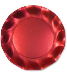Piatti Piani di Carta a Petalo Rosso Metallizzato Satinato 27 cm
