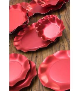 Piatti Fondi di Carta a Petalo Rosso Metallizzato Satinato 24 cm