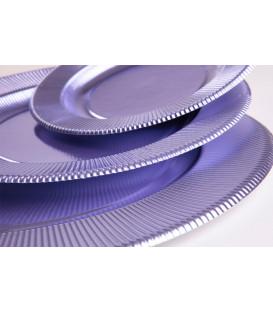Piatti Piani di Carta a Righe Lavanda Metallizzato 32,4 cm