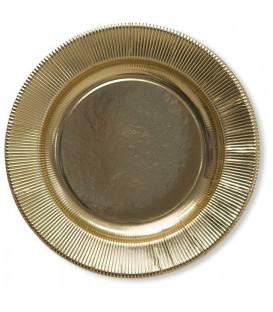 Piatti Piani di Carta a Righe Oro Metallizzato Lucido 32,4 cm