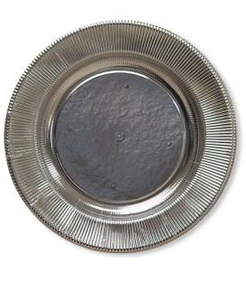 Piatti Piani di Carta a Righe Argento Metallizzato Lucido 32,4 cm
