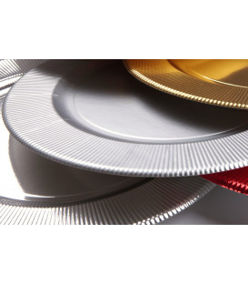 Piatti Piani di Carta a Righe Argento Metallizzato Satinato 27 cm
