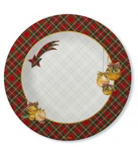 Piatti Fondi di Carta a Righe Natale in Scozia 24 cm 2 confezioni