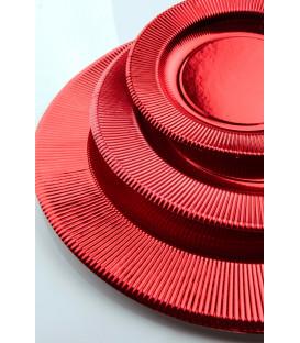 Piatti Piani di Carta a Righe Rosso Metallizzato Lucido 27 cm