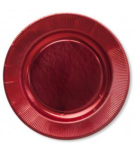 Piatti Piani di Carta a Righe Rosso Metallizzato Lucido 32,4 cm
