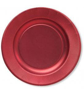 Piatti Piani di Carta a Righe Rosso Metallizzato Satinato 27 cm