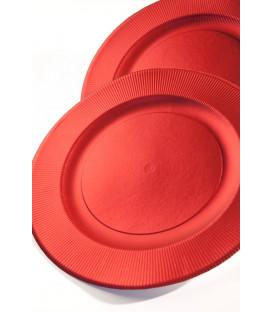 Piatti Piani di Carta a Righe Rosso Metallizzato Satinato 32,4 cm