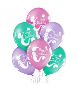 """Pallone lattice 12"""" - 30 cm Sirenetta Happy Birthday 3 colori assortiti 50 pz"""