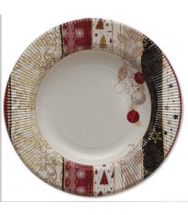 Piatti Fondi di Carta a Righe Natale Patchwork 25,5 cm