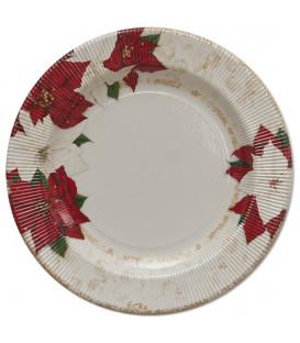 Piatti Piani di Carta a Righe Stella di Natale 27 cm 2 confezioni