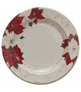 Piatti Piani di Carta a Righe Stella di Natale 27 cm