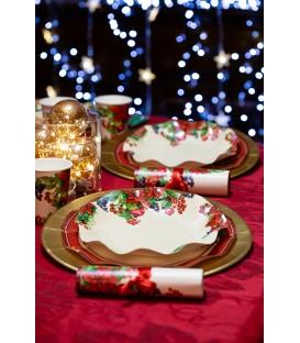 Piatti Fondi di Carta a Petalo Christmas Fruit 24 cm