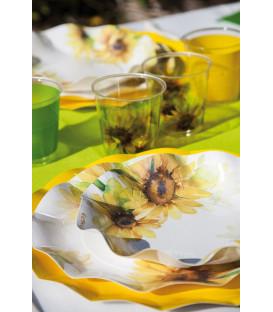 Piatti Piani di Carta a Petalo Sunflower 27 cm