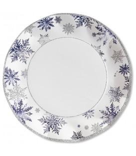 Piatti Piani di Carta a Petalo Snowflakes 27 cm