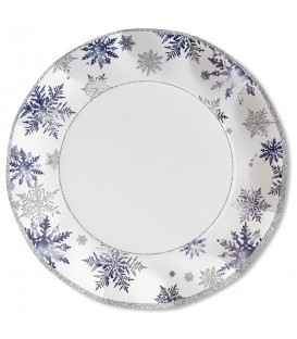 Piatti Piani di Carta a Petalo Snowflakes 21 cm