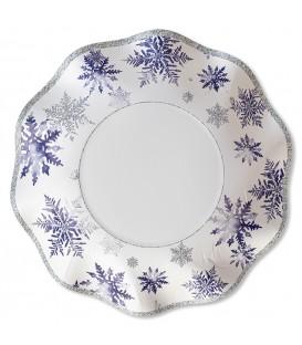 Piatti Fondi di Carta a Petalo Snowflakes 24 cm