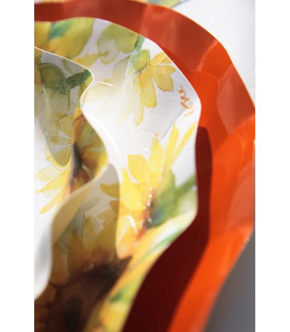 Piatti Fondi di Carta a Petalo Sunflower 24 cm