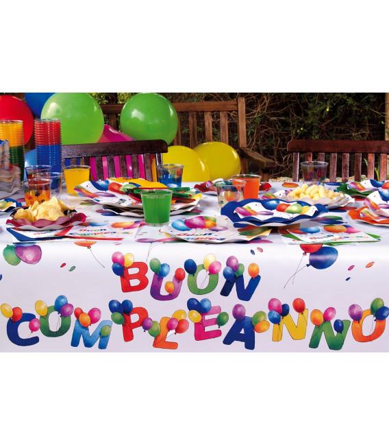 Piatti Piani di Carta a Petalo Buon Compleanno 27 cm