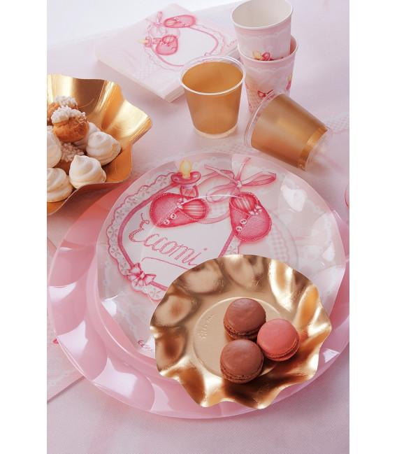 Piatti Piani di Carta a Petalo Eccomi Rosa 27 cm