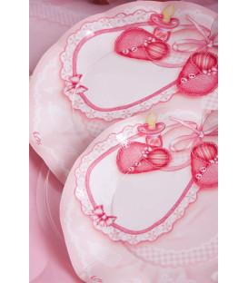 Piatti Piani di Carta a Petalo Baby Rosa