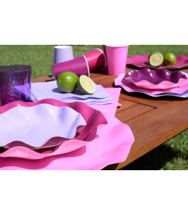 Piatti Fondi di Carta a Petalo Rosa Pink 24 cm