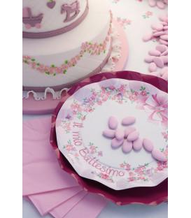 Piatti Piani di Carta a Petalo Battesimo Rosa 27 cm 2 Confezioni