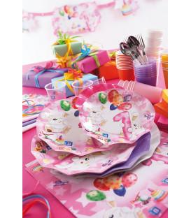 Tovaglioli 3 Veli Primo Compleanno Palloncini Rosa 33 x 33 cm 3 confezioni
