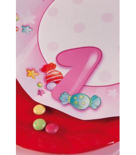 Piatti Piani di Carta Primo Compleanno Rosa 27 cm