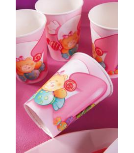 Bicchieri di Carta Primo Compleanno Rosa 250 cc