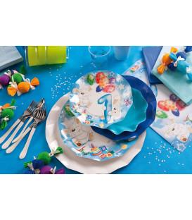 Piatti Piani di Carta Primo Compleanno Palloncini Celeste