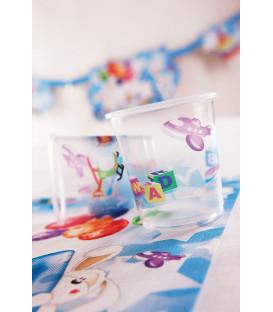 Bicchieri di Plastica Primo Compleanno Palloncini Celeste 250 cc