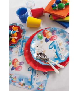 Tovaglioli 3 Veli Primo Compleanno Palloncini Celeste 33x33 cm