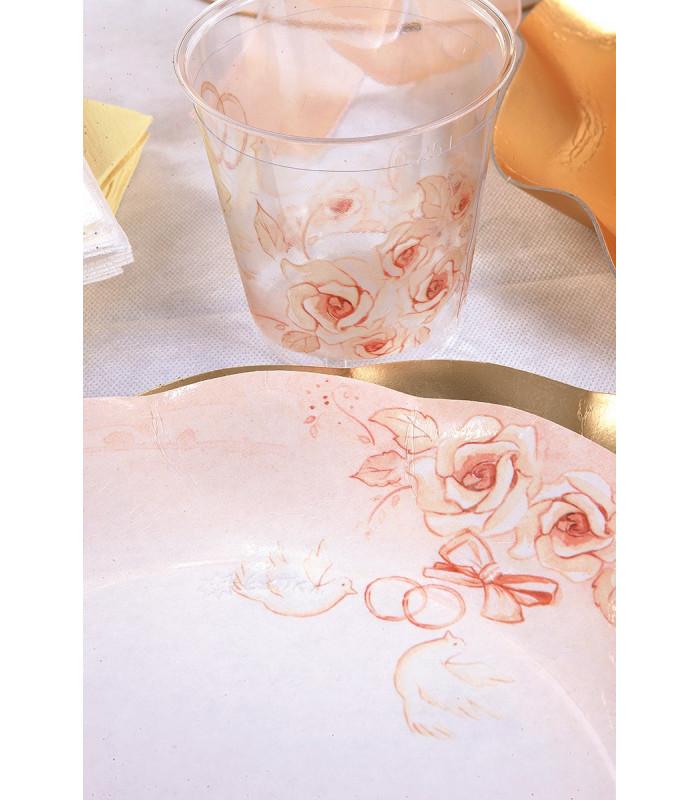 Tema Matrimonio Rosa Quarzo : Bicchieri di plastica matrimonio 300 cc
