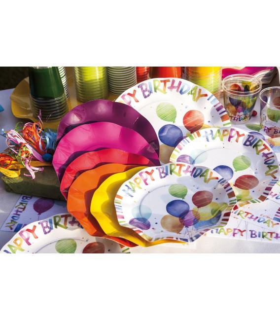 Piatti Piani di Carta a Petalo Happy Birthday