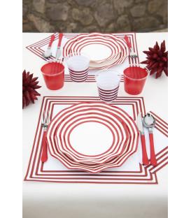 Piatti Piani di Carta a Petalo Navy Rosso 21 cm