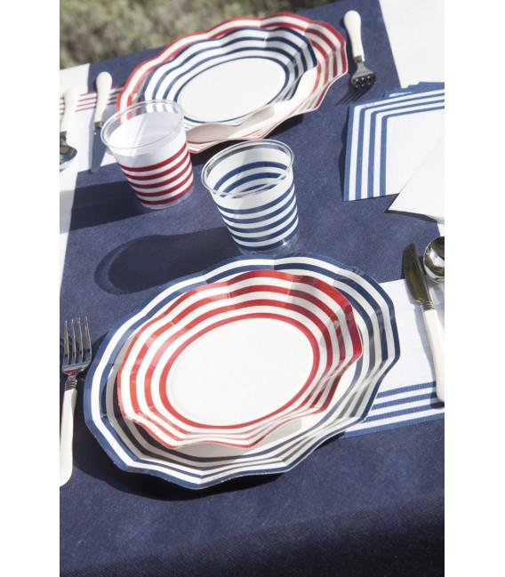 Piatti Piani di Carta a Petalo Navy Rosso