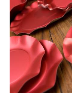 Piatti Piani di Carta a Petalo Rosso Metallizzato Satinato 21 cm
