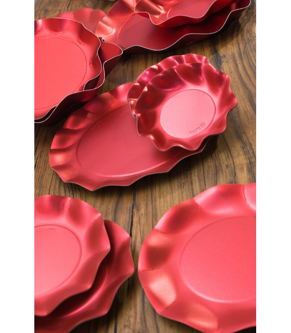 Piatti Piani di Carta a Petalo Rosso Satinato Metallizzato