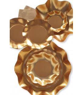 Piatti Piani di Carta a Petalo Oro Metallizzato Satinato