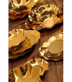 Piatti Piani di Carta a Petalo Oro Metallizzato Lucido
