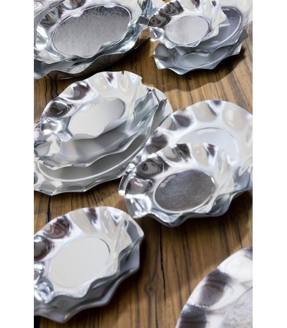 Piatti Piani di Carta a Petalo Argento Metallizzato