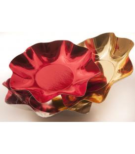Zuppiera Grande di Carta a Petalo Rosso Metallizzato 35 cm