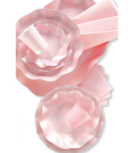 Piatti Piani di Carta a Petalo Rosa Perlato