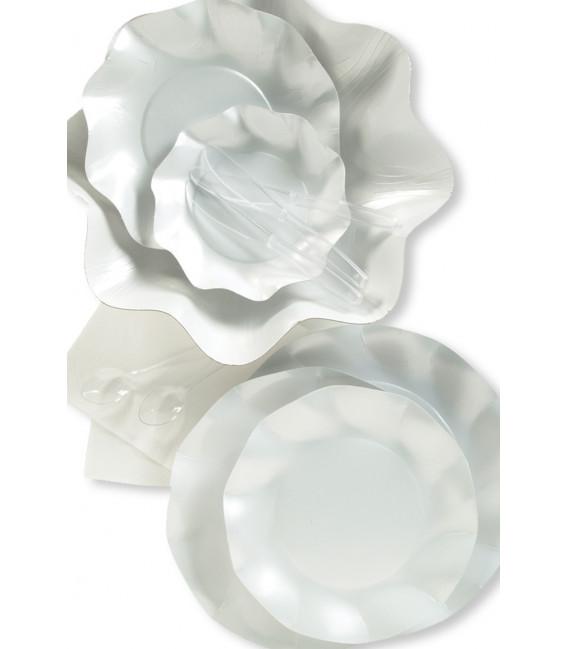 Piatti Piani di Carta a Petalo Bianco Perlato 27 cm