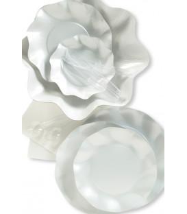 Piatti Piani di Carta a Petalo Bianco Perlato
